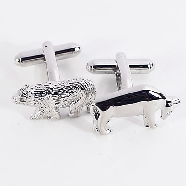 Bey-Berk Rhodium Plated  Cufflinks, Bull and Bear