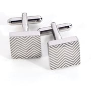 Bey-Berk Rhodium Plated  Cufflinks, Square Waive