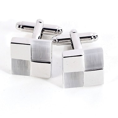 Bey-Berk Rhodium Plated  Chrome Cufflinks With Semi Precious Stones