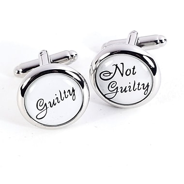 Bey-Berk Rhodium Plated  Cufflinks, Guilty and Not Guilty
