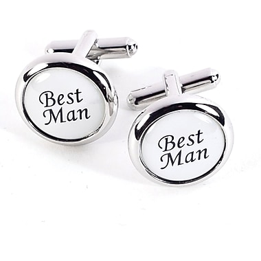 Bey-Berk Rhodium Plated Cufflinks, Best Man