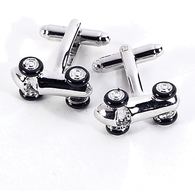 Bey-Berk Rhodium Plated  Chrome Cufflinks, Race Car