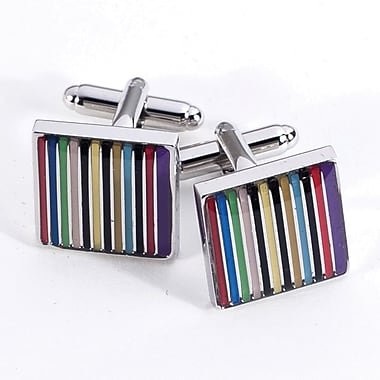 Bey-Berk Rhodium Plated Cufflinks, Stripes