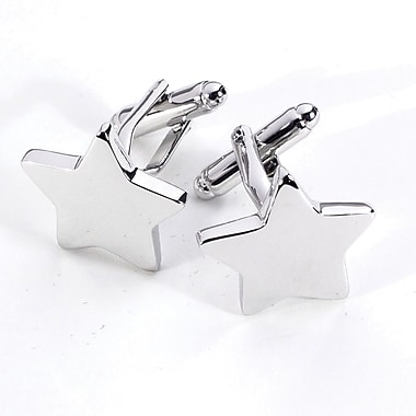 Bey-Berk Rhodium Plated  Cufflinks, Star