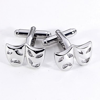 Bey-Berk Rhodium Plated  Cufflinks, Comedy and Tragedy
