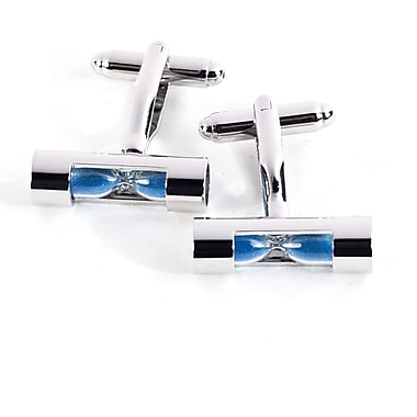 Bey-Berk Rhodium Plated Cufflinks, Blue Sand Timer