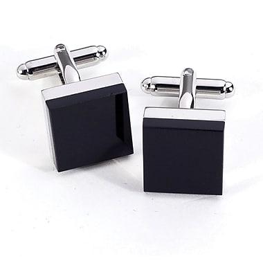 Bey-Berk J196 Rhodium Plated Cufflinks, Square