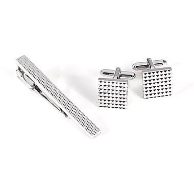 Bey-Berk Rhodium Plated Cufflink and Tie Pin Set With Checkered Design