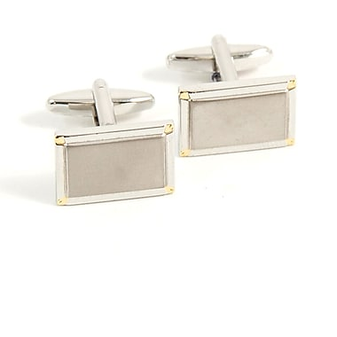 Bey-Berk Rhodium Plated  Gold Cufflinks, Rectangular
