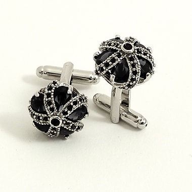 Bey-Berk Rhodium Plated  Cufflinks, Crown