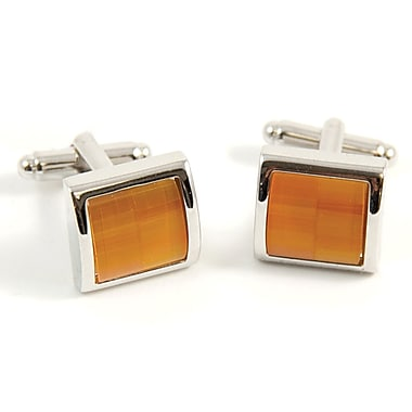 Bey-Berk Rhodium Plated Cufflinks With Semi Precious Orange Stone