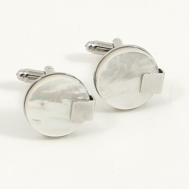 Bey-Berk Rhodium Plated Cufflinks with Mother of Pearl, Round