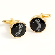 Bey-Berk Gold Plated  Cufflinks, Golfer