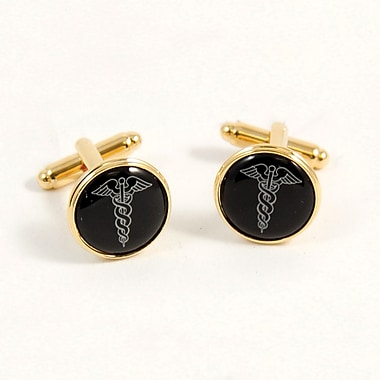 Bey-Berk Gold Plated Cufflinks, Caduceus