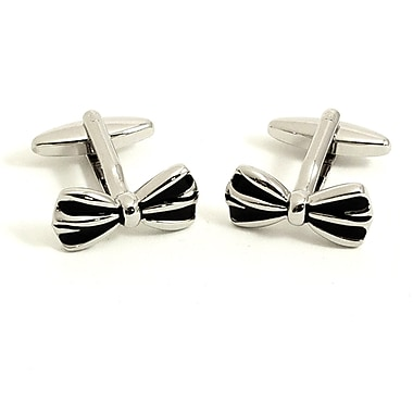 Bey-Berk Rhodium Plated  Cufflinks, Bow Tie