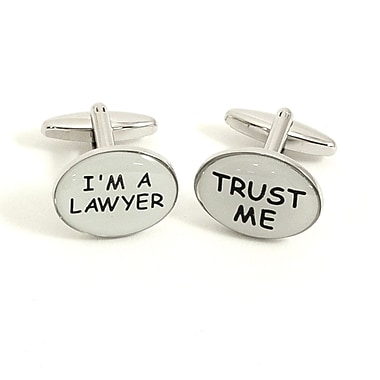 Bey-Berk Rhodium Plated Cufflinks, Trust Me and I'm a Lawyer