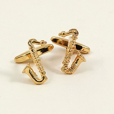 Bey-Berk Gold Plated  Cufflinks, Saxophone