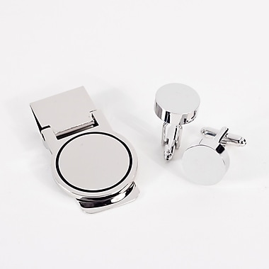 Bey-Berk Circular Design Cufflink and Money Clip Set, Silver Plated