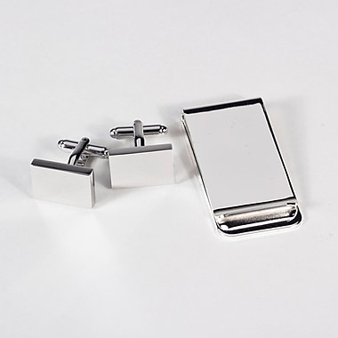 Bey-Berk Rectangular Design  Cufflink and Money Clip Set, Silver Plated