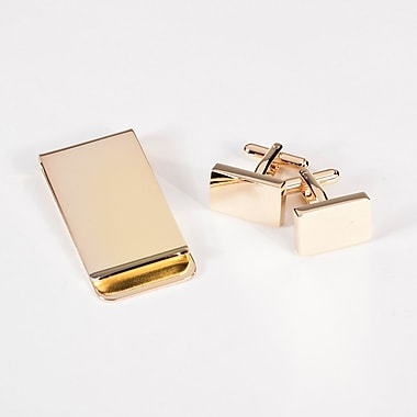 Bey-Berk Rectangular Design  Cufflink and Money Clip Set, Gold Plated