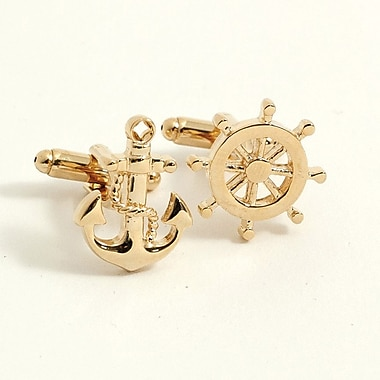 Bey-Berk Gold Plated Cufflinks, Ships Anchor and Wheel
