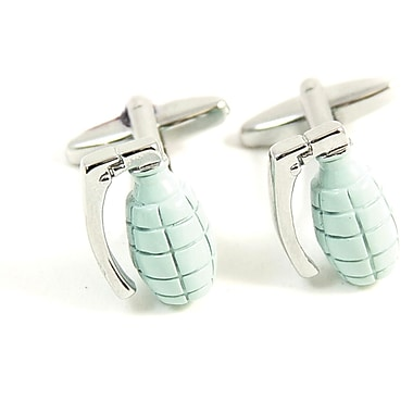 Bey-Berk Rhodium Plated Cufflinks, Grey Hand Grenade