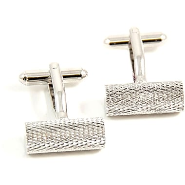 Bey-Berk Rhodium Plated Cufflinks, Round bar