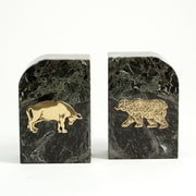 Bey-Berk Stock Market  Bookends, Green Marble, Gold Plated Finish