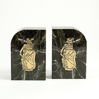 Bey-Berk Golf Bookends, Green Marble, Gold Plated Finish