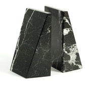 Bey-Berk Bookends, Black  Zebra Marble, Mirror Finished