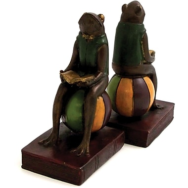 Bey-Berk Frog Bookends,  Resin, Mahogany Finished
