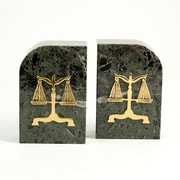 Bey-Berk Legal Bookends,  Green Marble, Gold Plated Finish
