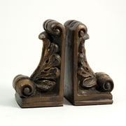 Bey-Berk Fleur De  Lis Bookends, Resin, Gold and Bronze Finished