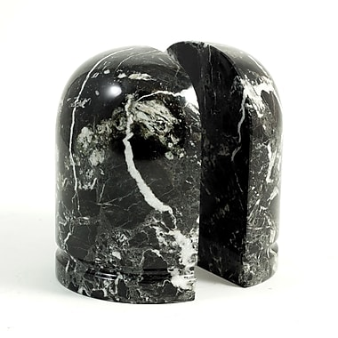 Bey-Berk Bookends, Black Zebra Marble, Glossy Finish