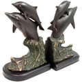 Bey-Berk Dolphins Bookends,  Solid Brass and Wood Base, Bronze Finished
