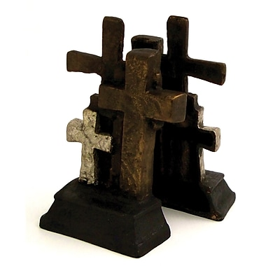 Bey-Berk Cross Bookends, Cast Metal, Bronzed