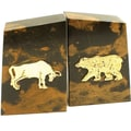 Bey-Berk Stock Market  Bookends, Solid Marble, Gold Plated Finish