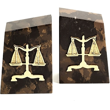 Bey-Berk Legal Bookends, Solid Marble, Gold Plated Finish