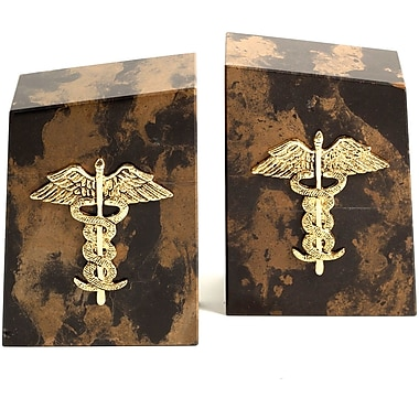 Bey-Berk Medical Bookends,  Solid Marble, Gold Plated Finish