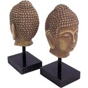 Bey-Berk Buddha Bookends,  Resin Cast and Black Marble Base