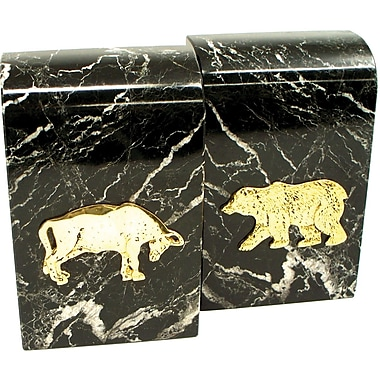 Bey-Berk Stock Market  Bookends, Black Marble