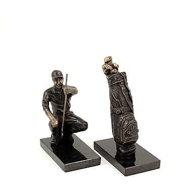 Bey-Berk Golfer and  Bag Bookends, Cast metal and Marble Base, Bronzed