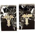 Bey-Berk Medical Bookends,  Brass and Marble, Gold Plated Finish