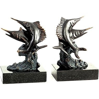 Bey-Berk Swordfish Bookends,  Cast metal and Marble Base, Bronzed