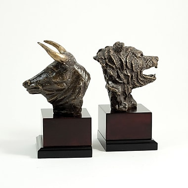 Bey-Berk Stock Market  Bookends, Solid Brass and Wood, Bronzed