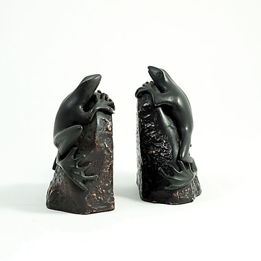 Bey-Berk Frog Bookends,  Cast Metal Patina Finished