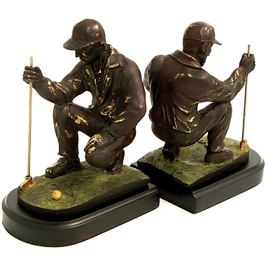 Bey-Berk Golfer Measuring  Bookends, Solid Brass and Wood Base, Bronze Finish