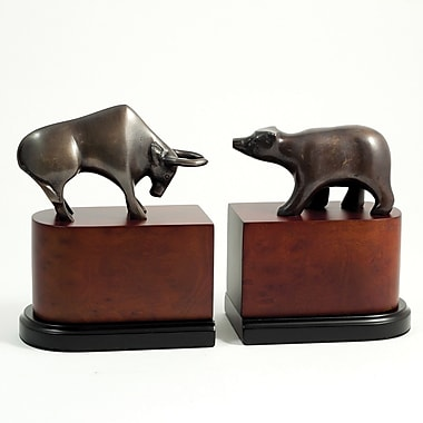 Bey-Berk Wall Street  Bookends, Brass and Burl Wood, Bronzed