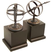 Bey-Berk Sundial Bookends,  Cast Metal and Wood Base, Verdigris Finished