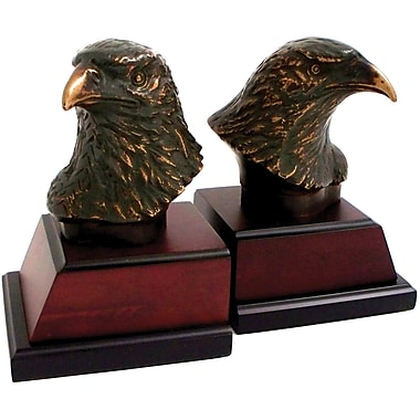 Bey-Berk Eagle Bookends,  Brass and Burl Wood Base, Bronzed/Patina Finished